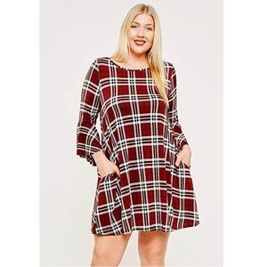 Plaid Flannel Plus Size Side Pockets Tunic Dress